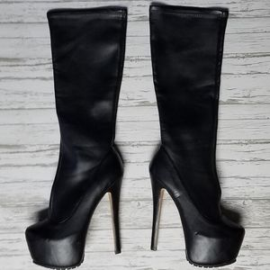 Black knee high platform high heel boots
